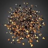 La explosión de partículas anaranjadas negras junta las piezas en el backgroun oscuro stock de ilustración
