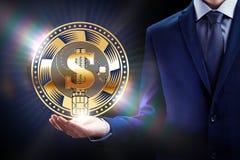 La explotación minera del negocio de la moneda de Cryptocurrency mordió el diseño de concepto, cadena de bloque a disposición imagenes de archivo