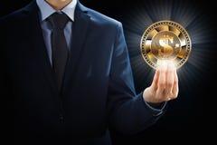La explotación minera del negocio de la moneda de Cryptocurrency mordió el diseño de concepto, cadena de bloque a disposición foto de archivo libre de regalías