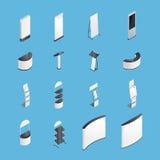 La exposición coloca los iconos isométricos fijados Fotos de archivo libres de regalías
