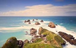 La exposición larga tiró del paisaje del punto de la pepita, Nueva Zelanda Fotografía de archivo