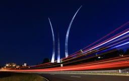 La exposición larga tiró en el monumento de la fuerza aérea en Arlington Fotografía de archivo libre de regalías