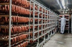 La fábrica para la producción de comida de los ingredientes naturales Carnicero Shop Carne de vaca que mata Imagen de archivo libre de regalías