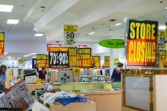 La Fève-tonne stocke inc., une chaîne faillite de 200 magasins régionaux images stock