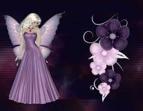 La fée avec le pourpre fleurit le fond Photos stock