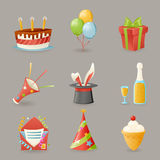 La fête d'anniversaire célèbrent l'illustration réaliste de vecteur de conception de bande dessinée d'icônes et d'ensemble de sym Image libre de droits