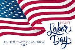 La Fête du travail des Etats-Unis célèbrent la bannière avec onduler le drapeau national américain et remettent à texte de lettra illustration de vecteur