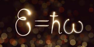 La física, constante de Planck, freezelight, bokeh, mecánica cuántica, energía de un fotón Fotografía de archivo