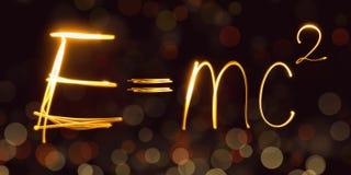 La física, fórmula del ` s de Einstein, freezelight, bokeh, EMC Fotos de archivo