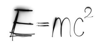 La física, fórmula del ` s de Einstein, freezelight, bokeh, EMC Foto de archivo libre de regalías