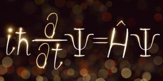 La física, fórmula del ` s de Schrodinger, freezelight, bokeh, ecuación de Schrödinger, mecánica cuántica Imagen de archivo libre de regalías