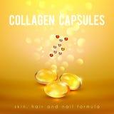La fórmula del colágeno encapsula el cartel de oro del fondo libre illustration