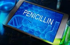 La fórmula química de la penicilina Foto de archivo
