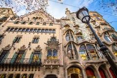 La façade de la maison Battlo de maison à Barcelone Photographie stock libre de droits