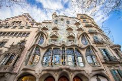 La façade de la maison Battlo de maison à Barcelone Images libres de droits