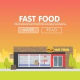 La façade de restaurants et de boutiques, vecteur de devanture de magasin a détaillé la conception plate Photographie stock