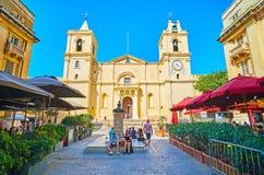 La façade de St John Co-Cathedral, La Valette, Malte images libres de droits