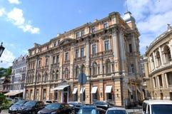 La façade du bâtiment de l'architecture du 19ème siècle Photographie stock
