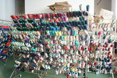 La fabbrica dell'indumento del filato fotografia stock