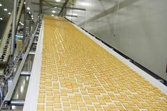 La fabbrica di produzione della cialda e del biscotto allinea, fabbrica immagini stock