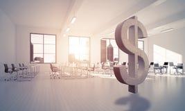 La fabbricazione dei soldi ed il concetto di ricchezza hanno presentato dal simbolo di pietra del dollaro Immagini Stock