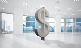 La fabbricazione dei soldi ed il concetto di ricchezza hanno presentato dal simbolo di pietra del dollaro nella stanza dell'uffic Immagini Stock