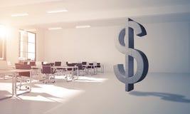 La fabbricazione dei soldi ed il concetto di ricchezza hanno presentato dal simbolo di pietra del dollaro Fotografie Stock Libere da Diritti