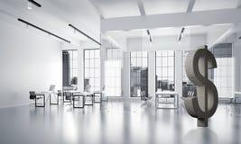 La fabbricazione dei soldi ed il concetto di ricchezza hanno presentato dal simbolo di pietra del dollaro nella stanza dell'uffic Immagine Stock