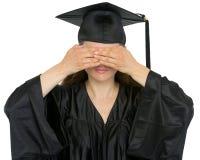 La fabbricazione della ragazza dell'allievo di graduazione non vede gesto diabolico Fotografie Stock Libere da Diritti