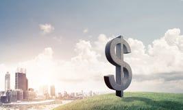 La fabricación del dinero y el concepto de la riqueza presentaron por el símbolo de piedra del dólar Fotos de archivo libres de regalías
