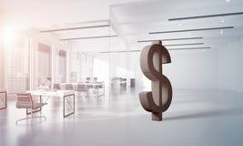 La fabricación del dinero y el concepto de la riqueza presentaron por el símbolo de piedra del dólar en sitio de la oficina Fotos de archivo libres de regalías