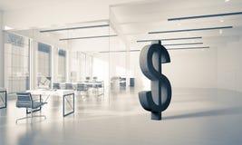 La fabrication d'argent et le concept de richesse ont présenté par le symbole en pierre du dollar Photo stock