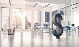 La fabrication d'argent et le concept de richesse ont présenté par le symbole en pierre du dollar Photos stock