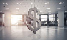 La fabrication d'argent et le concept de richesse ont présenté par le symbole en pierre du dollar Images libres de droits