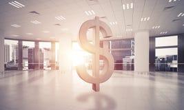 La fabrication d'argent et le concept de richesse ont présenté par le symbole en pierre du dollar Photographie stock