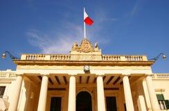 La facciata della costruzione della guardia principale e la cancelleria nel Pallace quadrano a La Valletta, isola di Malta Fotografie Stock Libere da Diritti