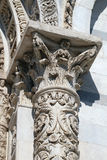La fachada adornó la columna de la catedral en Pisa, Italia Foto de archivo