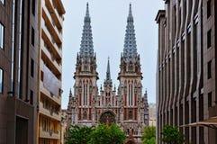 La fachada del santo Nicholas Roman Catholic Cathedral House de la música de órgano construido por los arquitectos Vladyslav Horo imagenes de archivo