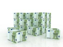 la facture enferme dans une boîte l'euro pile d'argent Photographie stock libre de droits