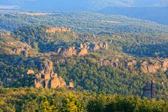 La falaise bascule le panorama, Belogradchik, Bulgarie Photos stock