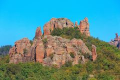 La falaise bascule le panorama, Belogradchik, Bulgarie Image libre de droits