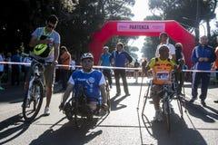 La fame funziona (Roma) - programma mondiale di alimentazione - linea di partenza disabile Immagine Stock