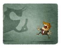 La fame spaventata di affari esamina una grande ombra che grida lui illustrazione di stock