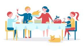 La famiglia alla Tabella ha cena di Natale deliziosa royalty illustrazione gratis