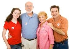 La famiglia americana ha votato Immagine Stock