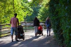 la famiglia cammina con i bambini in passeggiatori nel parco immagini stock