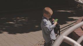La famiglia cammina nel parco con i bambini Giorno pieno di sole Alberi verdi stock footage