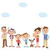 La famiglia che cerca, cielo Immagini Stock
