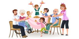 La famiglia che mangia la cena a casa, gente felice mangia l'alimento nonno dell'ossequio insieme, della mamma e del papà che si  illustrazione vettoriale