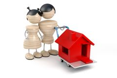La famiglia compra la casa Immagini Stock